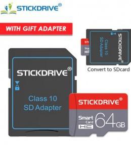 Carte Memoire MicroSD STICKDRIVE 64 GB + Adaptateur